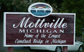 Mottville Michigan - Home of the Longest Camelback Bridge in Michigan