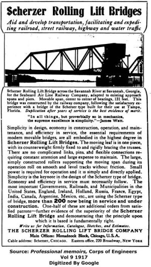 Scherzer Rolling Lift Bridge Company Advertisement