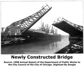 Halsted Streen North Branch Canal Bridge Raised