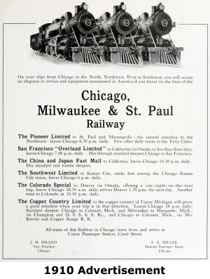 Chicago Milwaukee and St. Paul Railway Advertisement
