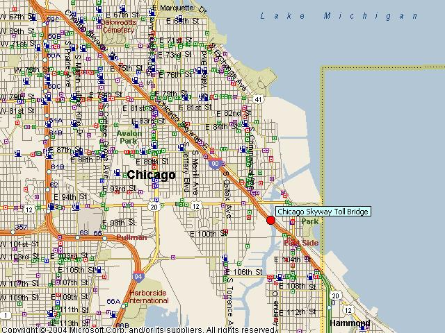 HistoricBridges.org - Chicago Skyway Toll Bridge Map