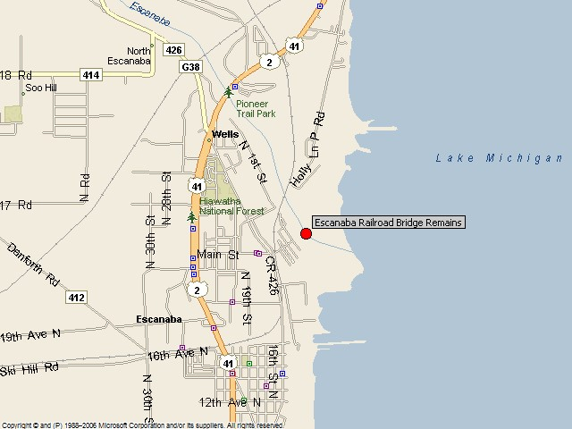 Historicbridges Org Escanaba Street Railway Bridge Map