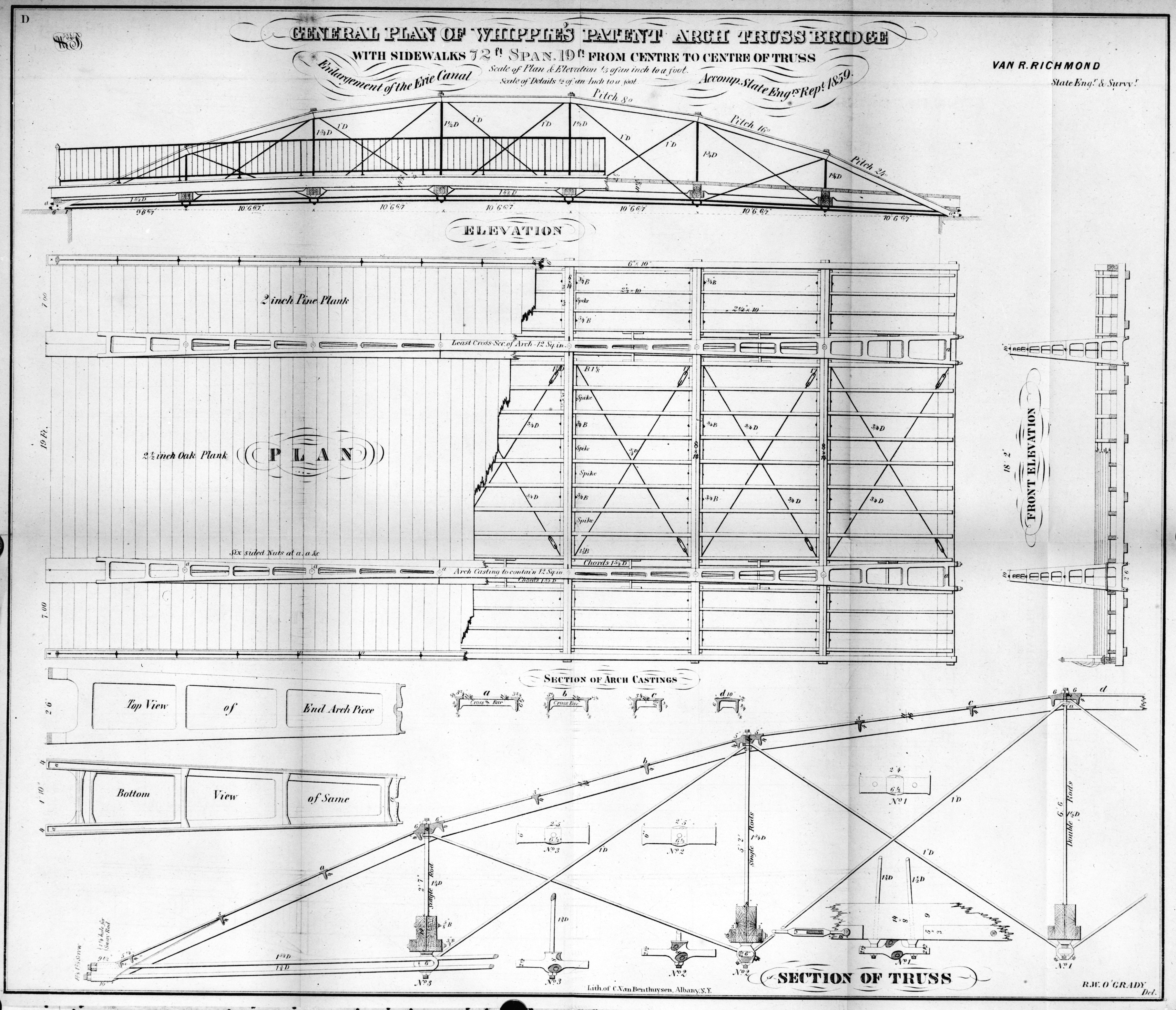 Normans Kill Ravine Bridge Normanskill Farm Truss Diagram Elevation Save The Is One Such Example Having Been Built By An Unaffiliated Builder Whipple Was Almost Certainly Not Personally