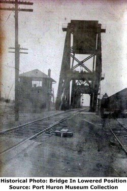 Port Huron Pere Marquette Railroad Bridge Lowered
