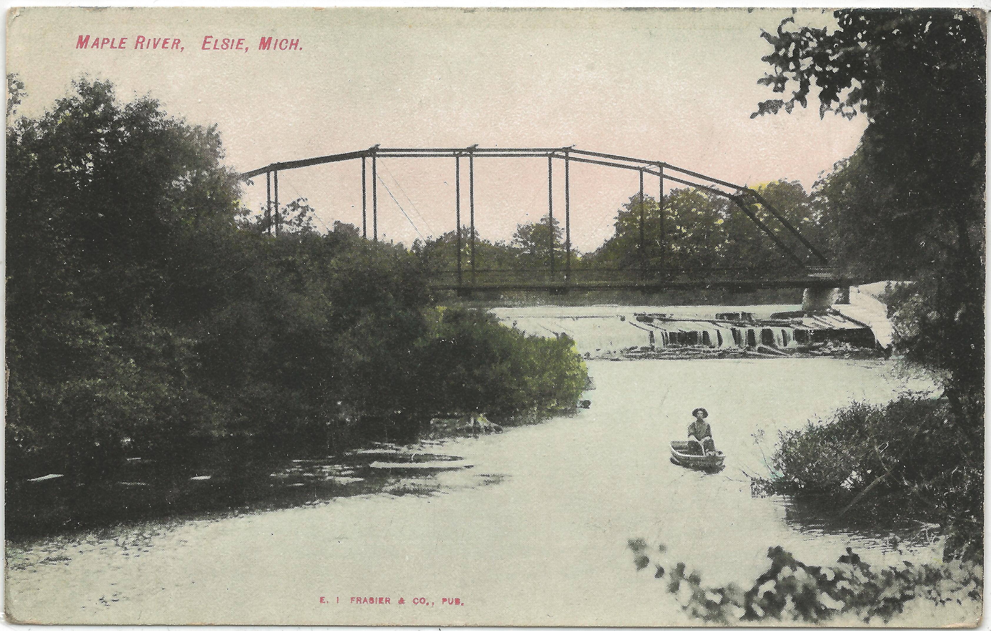 Michigan clinton county elsie - Above Historical Postcard Of Bridge