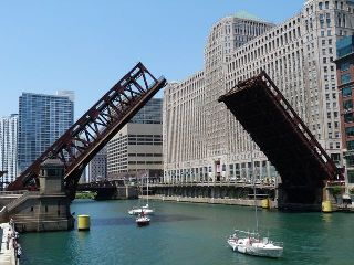 Wells Street Bridge Raised