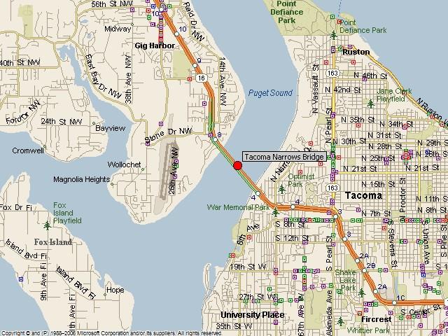 Historicbridges Org Tacoma Narrows Bridge Map